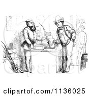 Clipart Of A Retro Vintage Man Buying A German Pipe In Black And White Royalty Free Vector Illustration
