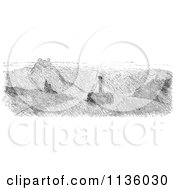 Clipart Of A Retro Vintage Fog On The Rhine In Black And White Royalty Free Vector Illustration