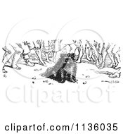 Clipart Of A Retro Vintage Crowd Around A Dog In Black And White Royalty Free Vector Illustration