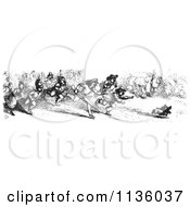 Clipart Of A Retro Vintage Crowd Chasing A Dog Who Stole A Sausage In Black And White Royalty Free Vector Illustration