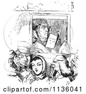 Clipart Of A Retro Vintage Man Reading On A Busy Boat In Black And White Royalty Free Vector Illustration by Picsburg