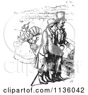 Clipart Of Retro Vintage Men On A Boat In Black And White Royalty Free Vector Illustration