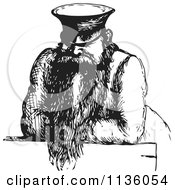 Clipart Of A Retro Vintage Man In Black And White 2 Royalty Free Vector Illustration