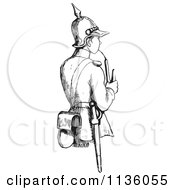 Clipart Of A Retro Vintage Soldier Smoking A Pipe In Black And White Royalty Free Vector Illustration