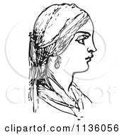 Clipart Of A Retro Vintage Woman In Black And White Royalty Free Vector Illustration