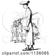 Clipart Of A Retro Vintage Tall Man In Black And White Royalty Free Vector Illustration