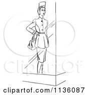 Clipart Of A Retro Vintage Window Mannequin Display Model In A Dress Black And White Royalty Free Vector Illustration by Picsburg