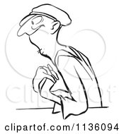Clipart Of A Retro Vintage Worker Man In Love Black And White Royalty Free Vector Illustration by Picsburg