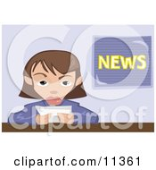 Female News Reporter Clipart Illustration