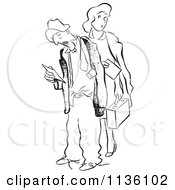 Clipart Of A Retro Vintage Tired Worker Man And Woman With Time Sheets Black And White Royalty Free Vector Illustration by Picsburg