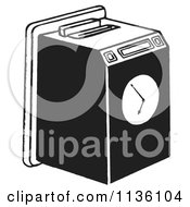 Clipart Of A Retro Vintage Work Punch Clock Black And White Royalty Free Vector Illustration