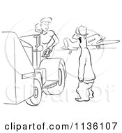 Clipart Of A Retro Vintage Man Gaping At A Worker Woman Black And White Royalty Free Vector Illustration