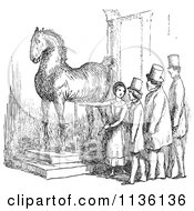 Clipart Of A Retro Vintage Woman Presenting Wallensteins Horse In Black And White Royalty Free Vector Illustration