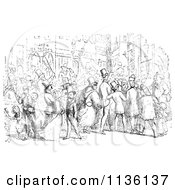 Clipart Of Retro Vintage People In A Street In Black And White Royalty Free Vector Illustration