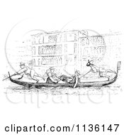 Clipart Of A Retro Vintage Gondola On The Grand Canal In Black And White Royalty Free Vector Illustration