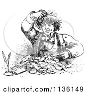 Clipart Of A Retro Vintage Man Going Through Receipts In Black And White Royalty Free Vector Illustration