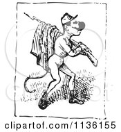 Clipart Of A Retro Vintage Man With A Bayonet In Black And White Royalty Free Vector Illustration