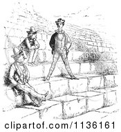 Clipart Of A Retro Vintage Men In The Amphitheatre In Verona In Black And White Royalty Free Vector Illustration