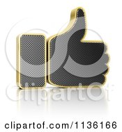 Clipart Of A 3d Perforated Metal Thumb Up Icon Royalty Free CGI Illustration by stockillustrations