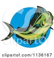 Clipart Of A Retro Mahi Mahi Dolphin Fish Over Blue Royalty Free Vector Illustration by patrimonio