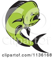 Clipart Of A Retro Mahi Mahi Dolphin Fish Jumping Royalty Free Vector Illustration by patrimonio