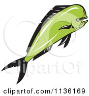 Clipart Of A Retro Mad Mahi Mahi Dolphin Fish Royalty Free Vector Illustration by patrimonio