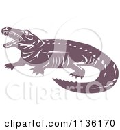 Clipart Of A Retro Crocodile 2 Royalty Free Vector Illustration by patrimonio