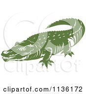 Clipart Of A Retro Crocodile 4 Royalty Free Vector Illustration by patrimonio