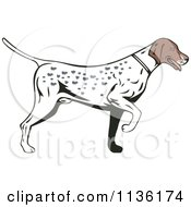Clipart Of A Retro Pointer Hunting Dog Royalty Free Vector Illustration by patrimonio