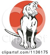 Clipart Of A Retro Curious Sitting Dog Royalty Free Vector Illustration