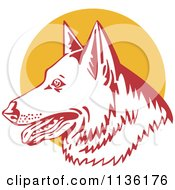 Clipart Of A Retro German Shepherd Dog Head Over A Yellow Circle Royalty Free Vector Illustration by patrimonio