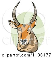 Clipart Of A Retro Defassa Waterbuck Head Over Green Royalty Free Vector Illustration by patrimonio