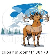 Clipart Of A Roaring Deer In The Mountains Royalty Free Vector Illustration by patrimonio