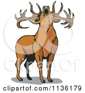 Clipart Of A Roaring Deer Royalty Free Vector Illustration by patrimonio
