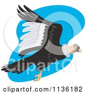 Clipart Of A Flying Condor Vulture Over Blue Royalty Free Vector Illustration by patrimonio