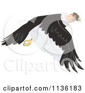 Clipart Of A Flying Condor Vulture Royalty Free Vector Illustration by patrimonio