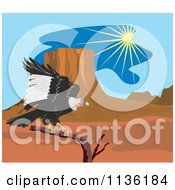 Clipart Of A Condor Vulture Landing In A Desert Royalty Free Vector Illustration by patrimonio