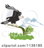 Clipart Of A Condor Vulture Landing Near Mountains Royalty Free Vector Illustration by patrimonio