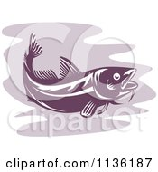 Clipart Of A Retro Cod Fish 4 Royalty Free Vector Illustration