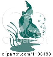Clipart Of A Retro Cod Fish 2 Royalty Free Vector Illustration