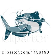 Clipart Of A Retro Blue Catfish Royalty Free Vector Illustration