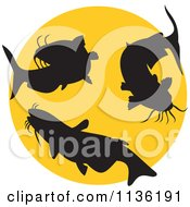 Clipart Of A Retro Silhouetted Catfish Over A Yellow Circle Royalty Free Vector Illustration