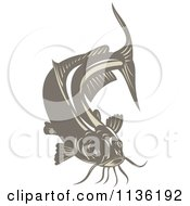 Clipart Of A Retro Brown Catfish Royalty Free Vector Illustration by patrimonio