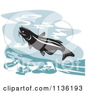 Clipart Of A Retro Leaping Catfish Royalty Free Vector Illustration by patrimonio