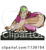 Clipart Of A Black Male Dj Mixing Records Royalty Free Vector Illustration by patrimonio