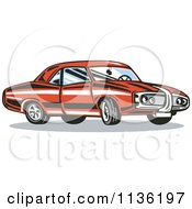Clipart Of A Retro Red Muscle Car Royalty Free Vector Illustration