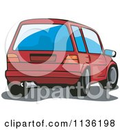 Clipart Of A Rear View Of A Vw Golf Car Royalty Free Vector Illustration