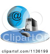 Clipart Of A Desktop Computer Server Tower Connected An Email Globe Royalty Free Vector Illustration
