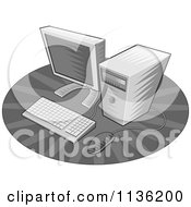 Clipart Of A Retro Grayscale Desktop Computer Royalty Free Vector Illustration