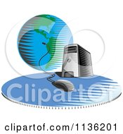 Clipart Of A Desktop Computer Server Tower Connected A Globe Royalty Free Vector Illustration